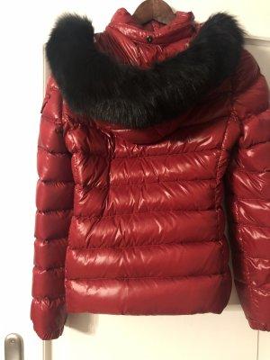 Moncler Chaqueta de plumón rojo oscuro-negro Piel