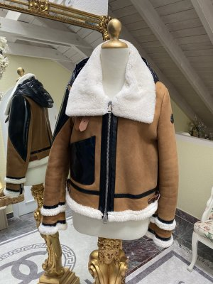 Moncler Fur Jacket multicolored leather