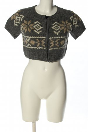 Moncler Short Sleeve Knitted Jacket brown-natural white graphic pattern