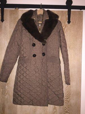 Moncler Cappotto trapuntato marrone-grigio