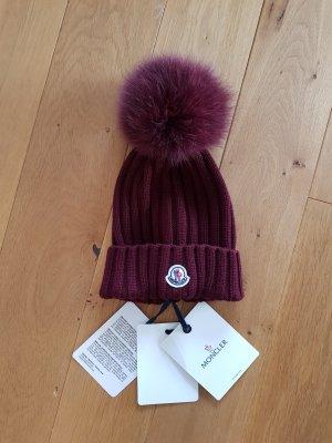 Moncler Chapeau en tricot bordeau