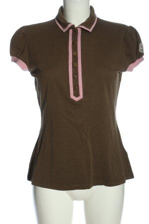 Moncler Camiseta tipo polo marrón-rosa look casual