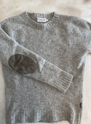 Moncler Wełniany sweter jasnoszary