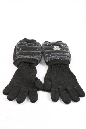 Moncler Knitted Gloves black quilting pattern casual look