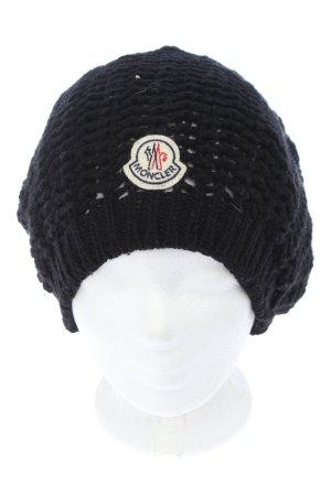 Moncler Sombrero de punto negro punto trenzado look casual