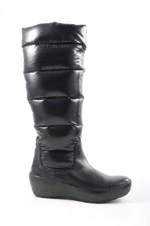 Moncler Winterlaarzen zwart quilten patroon casual uitstraling