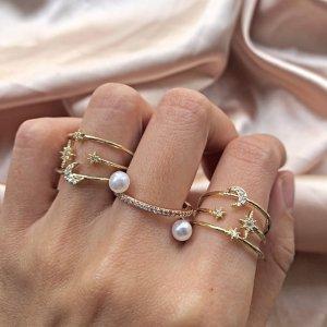 Mond und Stern Zirkonia Ring
