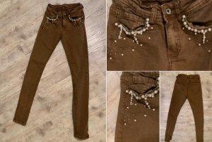 Monday Authentic Jeans - Pearls/PerlenDekor - Skinny - Braun - Größe XS 32/34