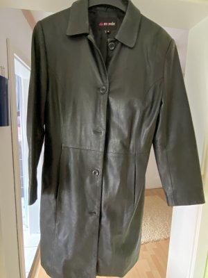 Mondo Manteau en cuir noir
