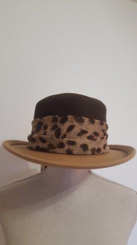 Monika Fleck Woolen Hat light brown-dark brown