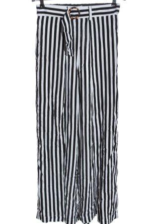 Monki Pantalone largo bianco-nero motivo a righe stile casual