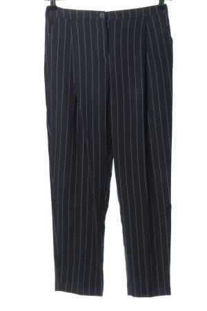 Monki Bundfaltenhose blau-weiß Allover-Druck Business-Look
