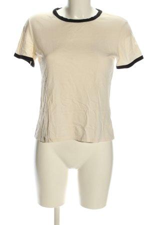 Monki Cropped Shirt wollweiß-schwarz Casual-Look