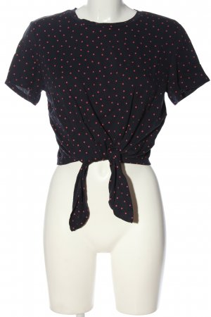 Monki Cropped Shirt blau-rot Allover-Druck Casual-Look