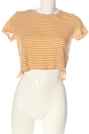 Monki Camicia cropped arancione chiaro-bianco motivo a righe stile casual