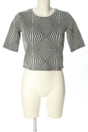 Monki Cropped Shirt schwarz-hellgrau Streifenmuster Casual-Look