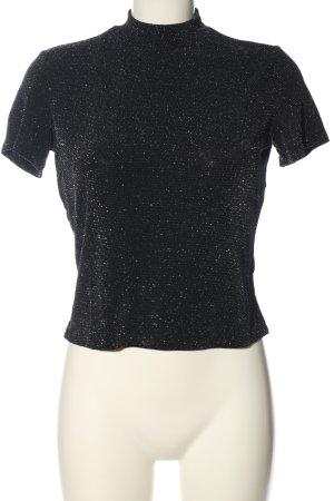 Monki Blusa brillante nero-argento elegante