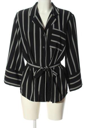 Monki Hemd-Bluse schwarz-weiß Allover-Druck Elegant