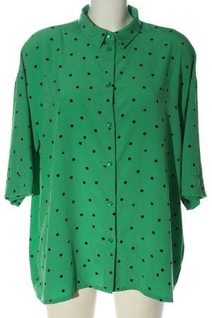 Monki Hemd-Bluse grün-schwarz Punktemuster Casual-Look