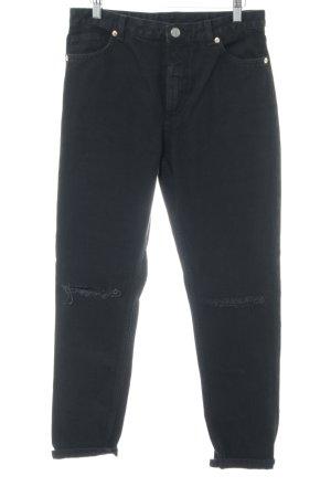 Monki Hoge taille jeans zwart casual uitstraling