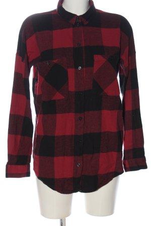Monki Chemise de bûcheron rouge-noir motif à carreaux style décontracté