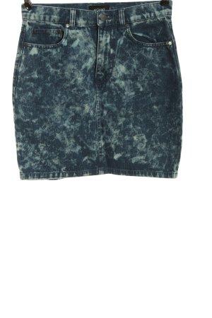 Monki Jeansrock blau-weiß abstraktes Muster Casual-Look