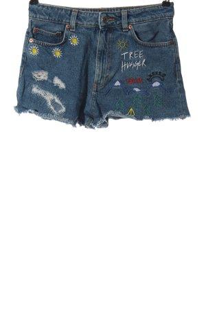 Monki Jeansshorts blau Motivdruck Casual-Look