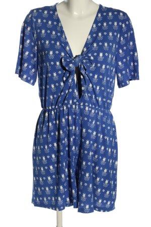 Monki Jumpsuit blau-weiß abstraktes Muster Casual-Look