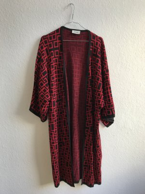 Monki Knitted Coat neon red-black