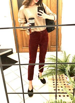 Monki Kordhose Weinrot Bordeaux Cosy Blogger Street Style High Waist