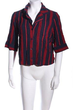 Monki Kurzarm-Bluse schwarz-rot Streifenmuster Casual-Look