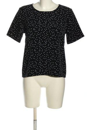 Monki Kurzarm-Bluse schwarz-weiß Punktemuster Casual-Look