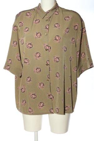 Monki Kurzarmhemd khaki-pink Allover-Druck Elegant