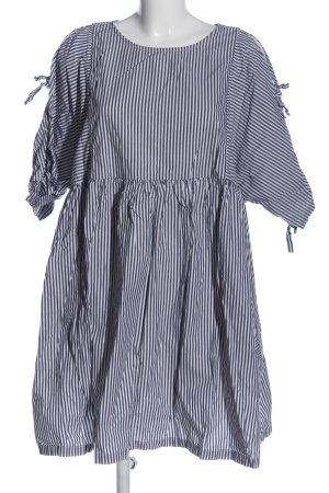 Monki Kurzarmkleid weiß-schwarz Streifenmuster Casual-Look