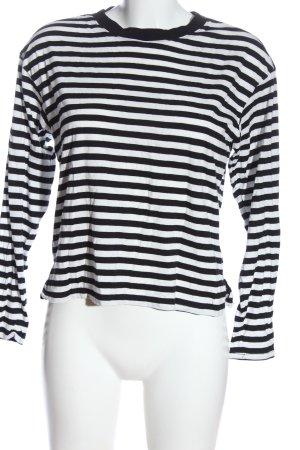 Monki Langarm-Bluse schwarz-weiß Allover-Druck Casual-Look