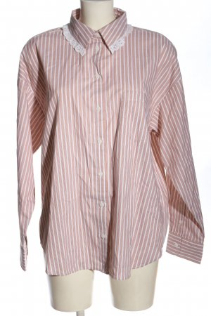 Monki Camisa de manga larga marrón-blanco estampado a rayas look casual