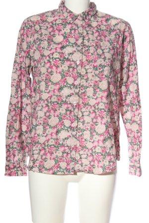 Monki Langarmhemd khaki-pink Blumenmuster Casual-Look