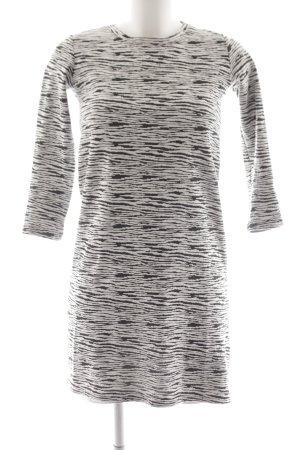 Monki Langarmkleid weiß-schwarz abstraktes Muster Casual-Look