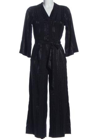 Monki Langer Jumpsuit schwarz Streifenmuster Business-Look