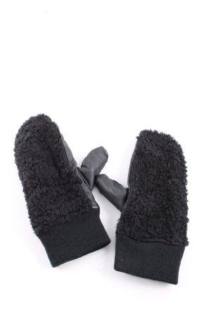 Monki Lederhandschuhe schwarz Casual-Look