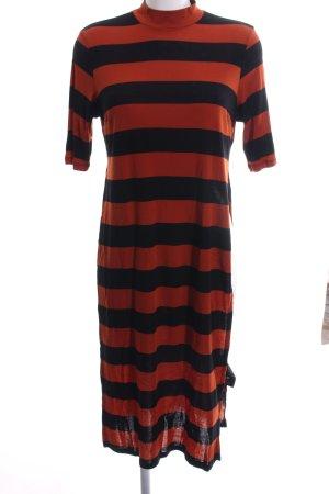 Monki Longshirt dunkelorange-schwarz Streifenmuster Casual-Look