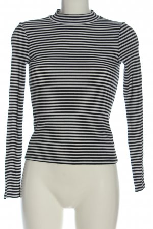 Monki Longsleeve weiß-schwarz Streifenmuster Casual-Look