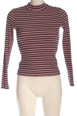 Monki Longsleeve pink-schwarz Streifenmuster Casual-Look