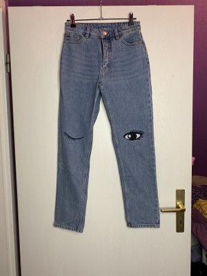 Monki Hoge taille jeans azuur-wit Katoen