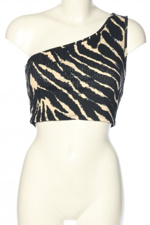 Monki One Shoulder Top black-natural white allover print casual look