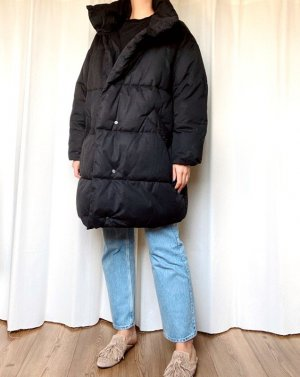 Monki Oversize Mantel Jacke Parka Daunen Gefüttert Blogger Cosy Stepp