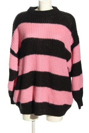 Monki Jersey holgados rosa-negro estampado a rayas look casual