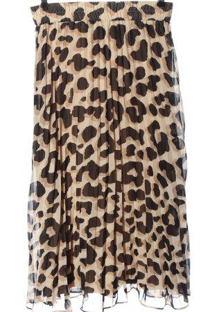 Monki Gonna pieghettata crema-marrone Stampa leopardata stile casual