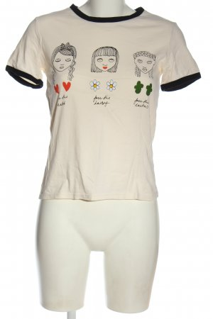Monki Camicia fantasia bianco sporco Stampa a tema stile casual