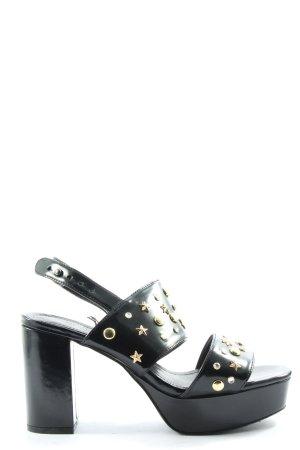 Monki Riemchen-Sandaletten schwarz-goldfarben Elegant